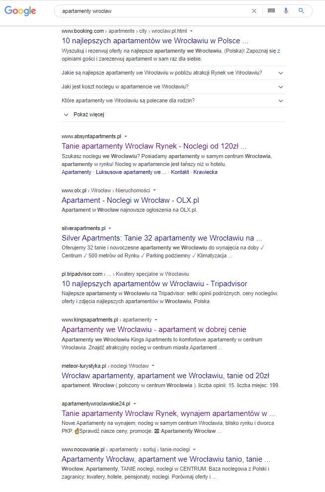 Pozycjonowanie stron internetowych we Wrocławiu - apartamenty wrocław - jak skutecznie wypozycjonowano stronę internetową klienta oferującego wynajem apartamentów we Wrocławiu