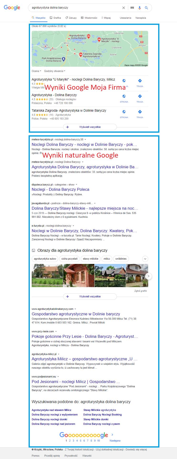 Wyniki naturalne dla frazy Agroturystyka Dolina Baryczy nad mimi wyniki Google Moja Firma a poniżej wyniki naturalne czyli lista stron, które są wypozycjonowane pod kątem frazy  Agroturystyka Dolina Baryczy.